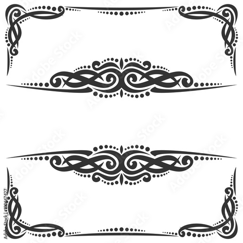 Vector decorative black frames on white, ornate decoration with ...