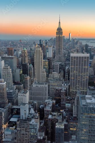 Keuken foto achterwand New York New York City skyline, Manhattan at sunset.