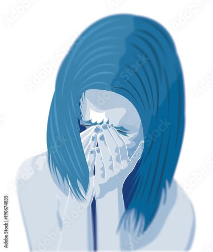 Photo Bambina che piange, depressione, maltrattamento, picchiare, ragazza, violenza su