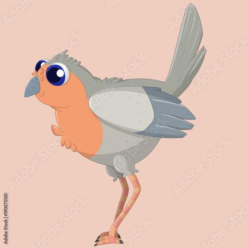 Tuinposter Sprookjeswereld Curios Robin. Vector illustration