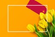Bunch of spring yellow tulips with price tag on orange background. Vector illustration