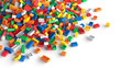 canvas print picture - Pile of colored toy bricks on white background.
