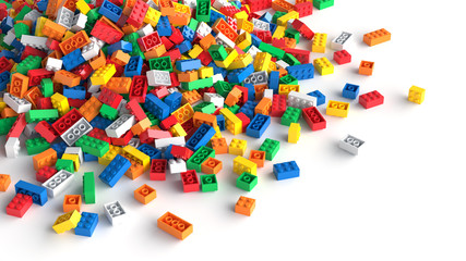 Pile of colored toy bricks ...
