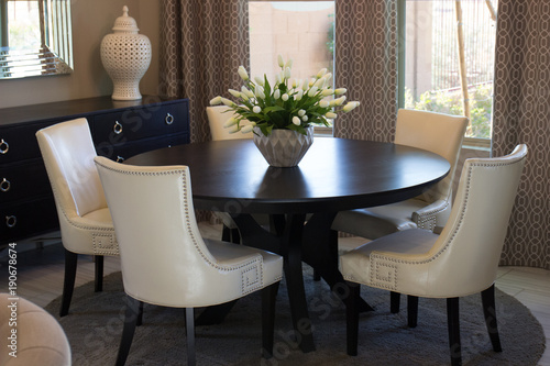 Photo  Dining Room Round Table & Chairs