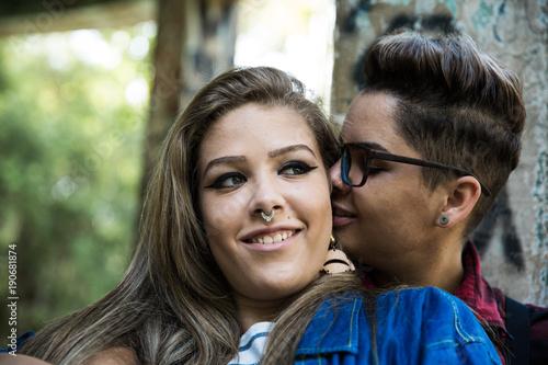Fotografia  Lesbian Couple Enjoying the Moment
