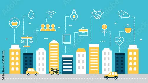 Fotografía  Smart Sustainable City Development Vector Illustration.