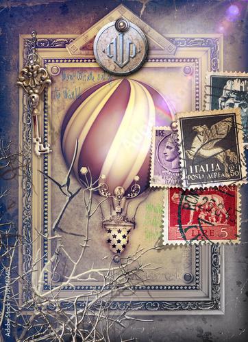 Poster Imagination Sfondo con cornice surreale,francobolli e mongolfiera