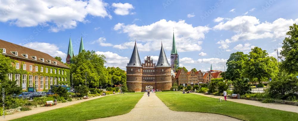 Fototapety, obrazy: Hansestadt, Lübeck, Holstentor, Panorama,