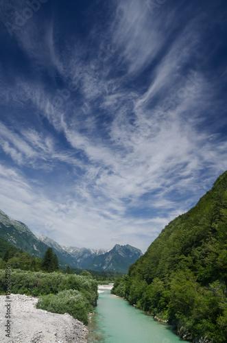 фотография  Soca river valley with mountains, Slovenia