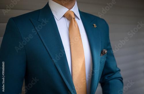 Fotografie, Obraz Man in elegant custom tailored suit posing in front of background