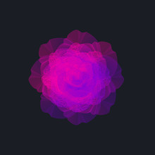 Abstract Neon Wireframe Flower...