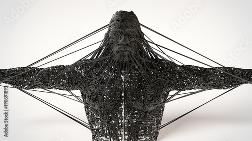 Photo  3d illustration of a dark character concept sculpting