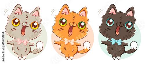 cat in kawaii style. Wallpaper Mural