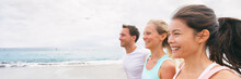 Group Of Three Multiracial Friends Running Together Having Fun On Beach Vacation. Young People, Asian Woman, Caucasian Blonde Girl And Man, Active Outdoors Summer Lifestyle Banner.