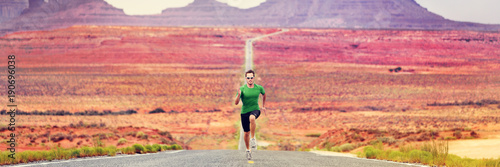 Fényképezés  Runner man running sprinting on road of mountain nature