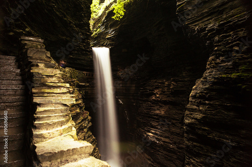 Beautiful lonely waterfall in Watkins Glen gorge, upstate New York in summer Canvas Print
