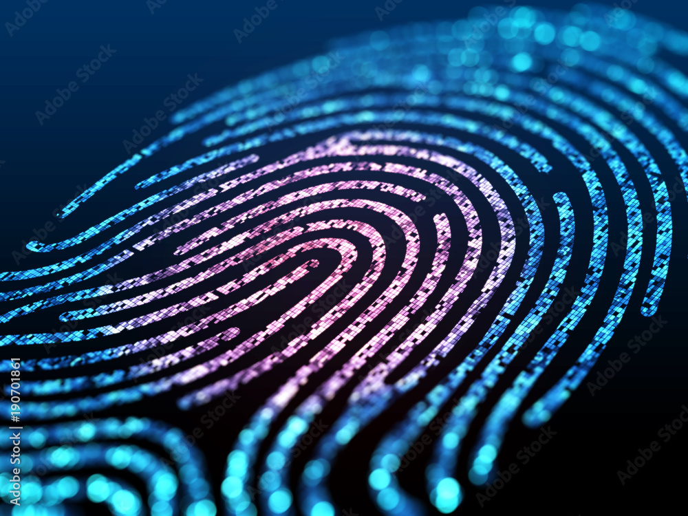 Fototapeta Digital fingerprint on black screen.