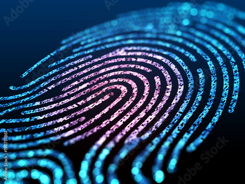 Obraz na płótnie Digital fingerprint on black screen.