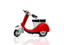 A Scooter In Red And White Col...
