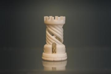 One object photopolymer printed on 3d printer. Stereolithography 3D printer, technology liquid photopolymerization UV light. Progressive modern additive technology. Concept 4.0 industrial revolution