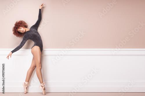 Obraz na plátně  Graceful african american ballerine.