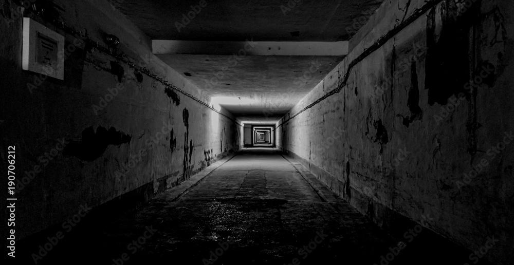 Fototapeta Dark Underground Tunnel with Lights Creating Depth