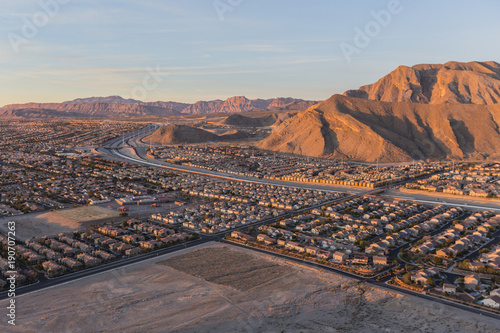 Early morning view of new neighborhoods and Route 215 from the top of Lone Mountain in Northwest Las Vegas.