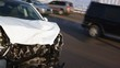 Road accident. Car crash. Broken car