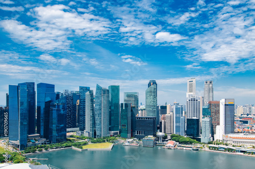 Singapore city skyline landscape at day blue sky. Business downtown district and Marina Bay view. Urban skyscrapers cityscape