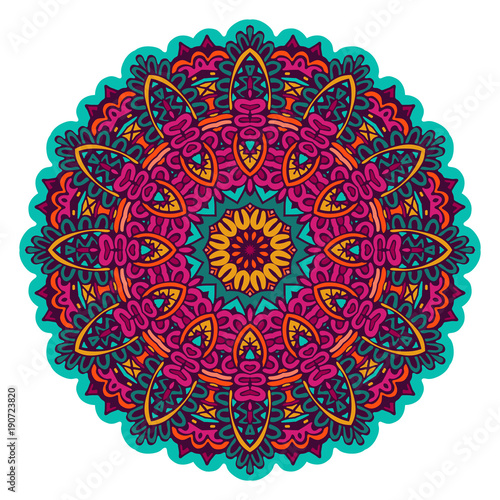 Photo  Indian floral Ethnic Mandala Ornament.