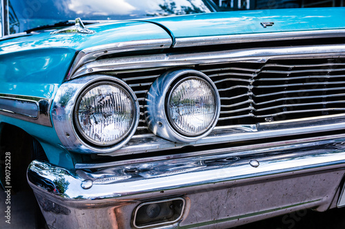 Blue Ford Galaxy 500 close up of grill and headlights Wallpaper Mural