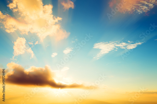 Fotografering  Vintage photo of abstract nature background with sky in sunset
