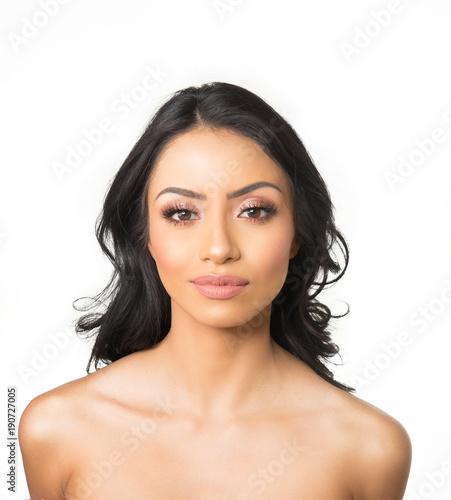Fotografie, Obraz  Beautiful woman's face and long dark hair