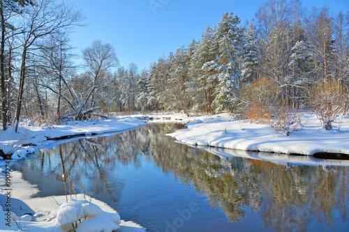 Foto op Canvas Grijs Winter landscape on the river