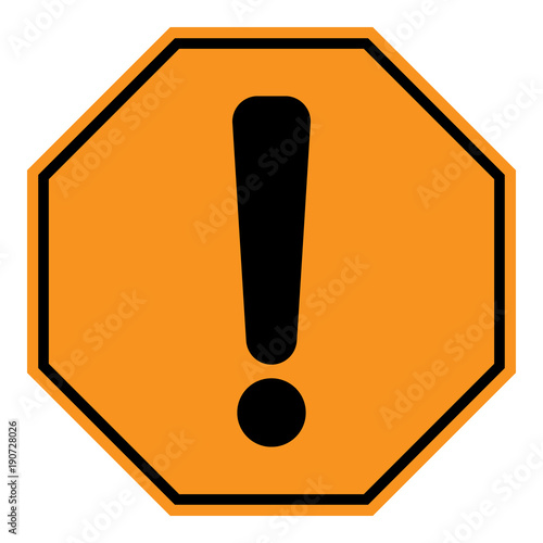 warning icon exclamation point mark on yellow and black octagon