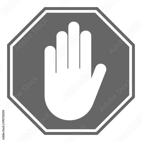 No Entry Sign Stop Hand Gesture In Octagon Vector Icon Buy