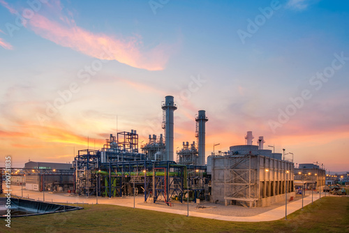Turbine electric power plant sunset time Tablou Canvas