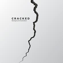 Surface Cracked Ground. Sketch Crack Texture. Split Terrain After Earthquake. Vector Illustration