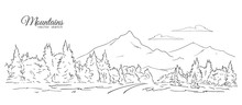 Hand Drawn Landscape With Moun...