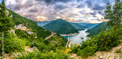 Montage in der Fensternische Gebirge Montenegro mountains, Durmitor Piva, Tara Panorama
