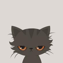 Angry Cat Cartoon. Cute Grumpy...