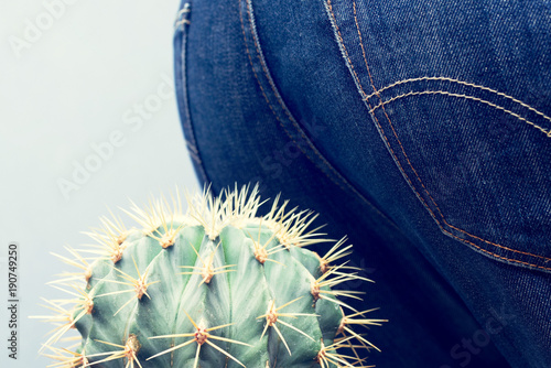 Men's ass sits down on a cactus. Conceptual image of a hemorrhoid and other diseases