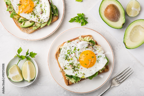 Fotografie, Obraz  toast with avocado, spinach and fried egg