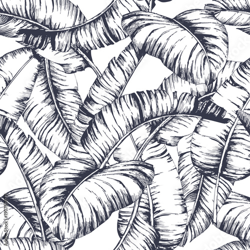 Cotton fabric Seamless banana leaves pattern for fashion textile, black line plant vector illustration