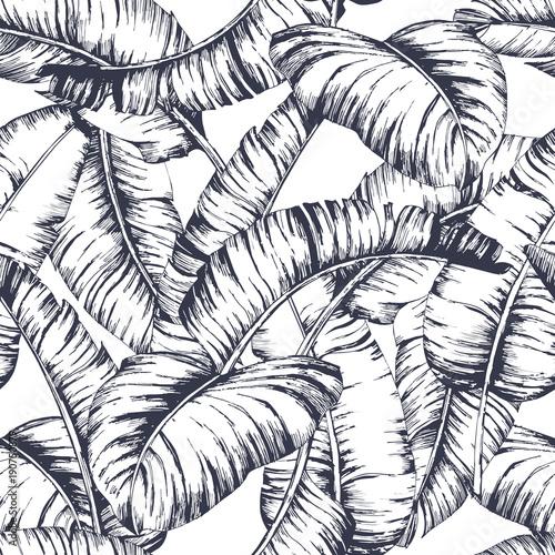 Materiał do szycia Wzór dla moda włókienniczych, Czarna linia roślina wektor ilustracja liści bananowych bezszwowe