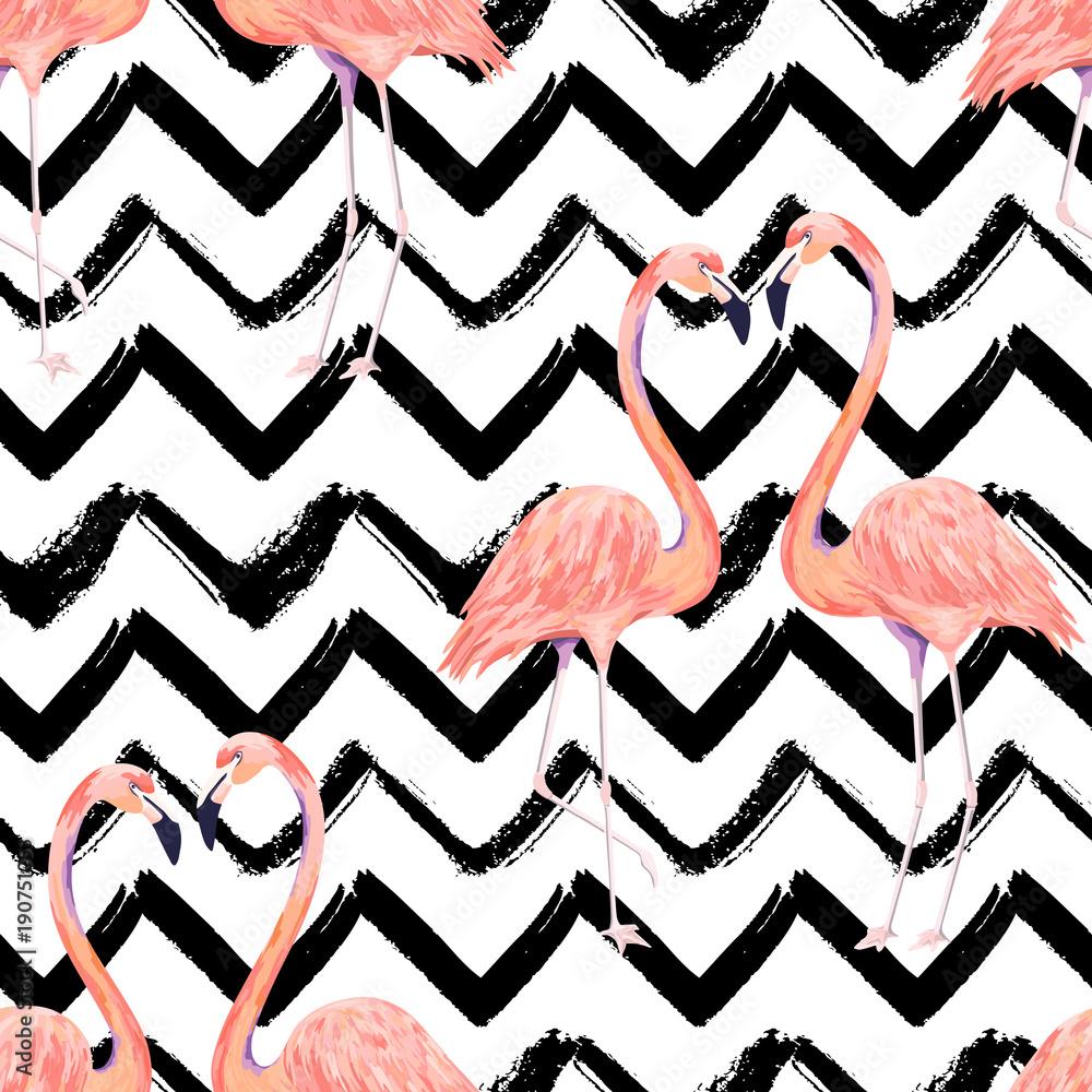 Abstrakcjonistyczny bezszwowy wzór z egzotycznym flamingiem na pasiastym szewronu tle. Letni wydruk dekoracji. Ilustracji wektorowych