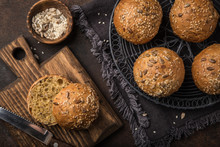 Fresh Baked Buns With Sesame, ...