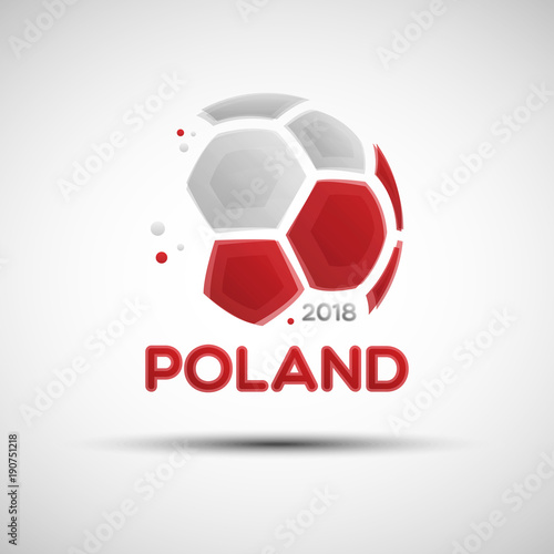 Spoed Foto op Canvas Bol Abstract soccer ball with Polish national flag colors