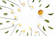 Round Frame With White Flower Narcissus Buds, Branches And Leaves Isolated On White Background. Lay Flat, Top View