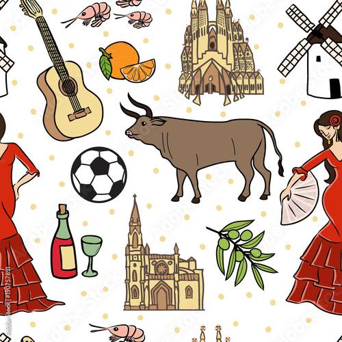 Spain symbols seamless pattern Canvas Print
